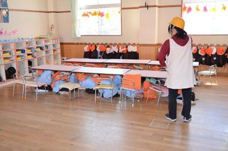 地震速報を利用した避難訓練